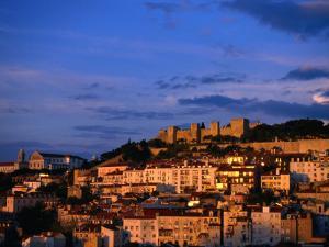 City and Castelo De Sao Jorge on Hill, Lisbon, Portugal by Martin Moos