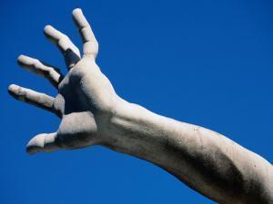 Hand on Statue on Fontana Dei Quattro Fiumi by Bernini, Piazza Navona, Rome, Italy by Martin Moos