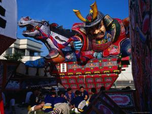 Men Carrying Rice Paper Float for Neputa Matsuri Festival, Aomori, Japan by Martin Moos