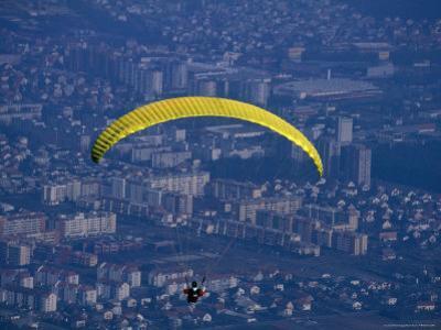 Paraglider Above the City, Maribor, Stajerska, Slovenia
