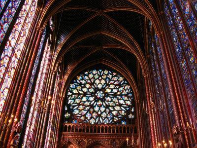 Rose Window in Upper Chapel of Saint Chapelle, Paris, France