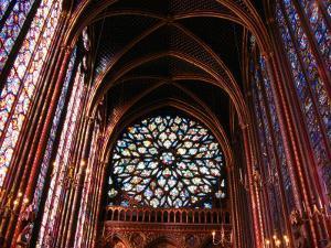 Rose Window in Upper Chapel of Saint Chapelle, Paris, France by Martin Moos