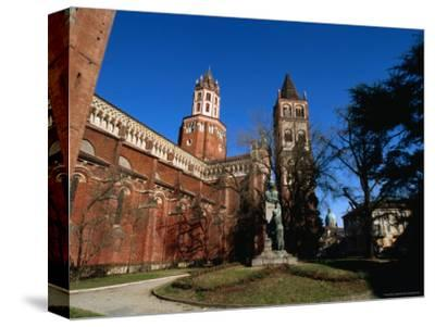St Andrea Church/Abbey and Campanile with St. Eusebio Dome Cathedral in Distance, Vercelli, Italy