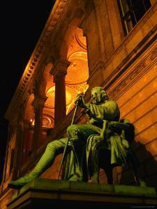Statue of Famous Playwright Ludvig Holberg Outside De Kongelige Teater, Copenhagen, Denmark by Martin Moos