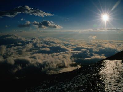 Sun Over Clouds at Mount Fuji, Mt. Fuji, Japan