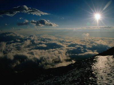 Sun Over Clouds at Mount Fuji, Mt. Fuji, Japan