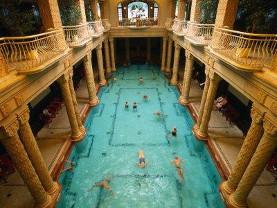 Swimmers in Gellert Thermal Baths in Budapest, Hungary