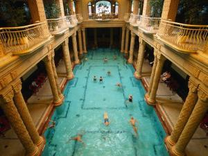 Swimmers in Gellert Thermal Baths in Budapest, Hungary by Martin Moos