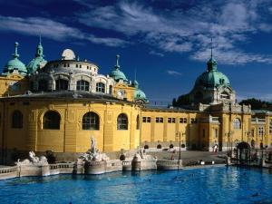 The Outdoor Swimming Pools of Szechenyi Thermal Baths in City Park, Budapest, Hungary by Martin Moos