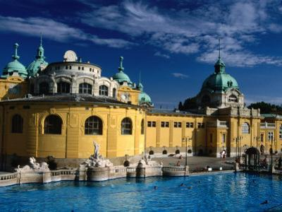 The Outdoor Swimming Pools of Szechenyi Thermal Baths in City Park, Budapest, Hungary