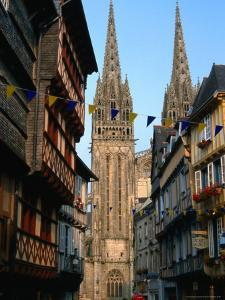 Towers of Cathedral St. Corentin in Rue Kereon, Quimper, France by Martin Moos