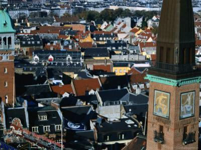 Two Towers Dominate the Low Skyline, Looking Northeast from Radhus, Copenhagen, Denmark