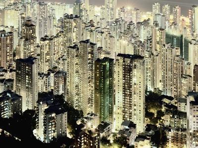 Hong Kong skyscrapers and apartment blocks at night