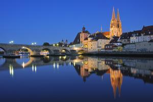 Historic Regensburg Illuminated at Dusk. by Martin Ruegner