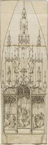 Etude pour un retable d'autel; scènes de l'Annonciation, de l'Adoration des Mages, de la Nativité; by Martin Schongauer