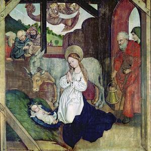 The Nativity, from the Altarpiece of the Dominicans, c.1470-80 by Martin Schongauer