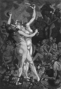 At a Sabbat in the Basque Country Two Witches Enjoy a Lascivious Dance by Martin Van Maele