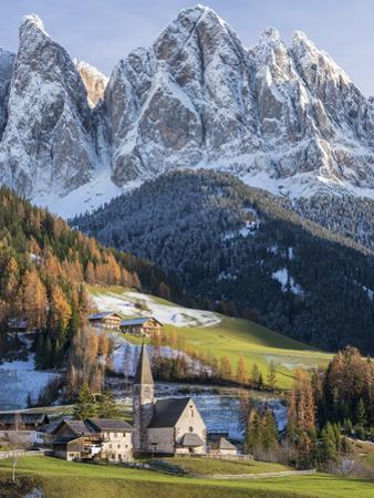 Church Sankt Magdalena, Villnoess Valley. Geisler Mountains. Italy by Martin Zwick