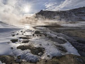 Geothermal Area Hverarond with Mudpots, Fumaroles and Sulfatases Near Lake Myvatn and the Ring Road by Martin Zwick