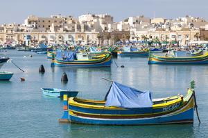 Luzzu Fishing Boats on the Harbor of Marsaxlokk, Malta by Martin Zwick