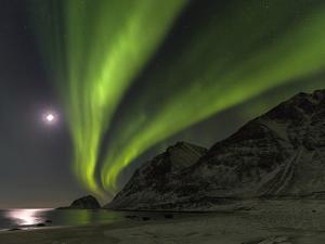 Northern Lights over Haukland Beach, island Vestvagoy. Lofoten Islands. Norway by Martin Zwick