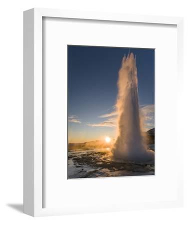 The Geysir Strokkur in Geothermal Area Haukadalur Part, Touristic Route Golden Circle During Winter