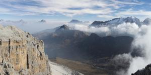 View towards Antelao, Pelmo, Civetta, Marmolada seen from Sella mountain range by Martin Zwick