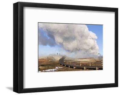 Visitors at the Gunnuhver Geothermal Area on Reykjanes Peninsula During Winter. Iceland