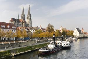 Waterfront of the Old Town. Bavaria, Regensburg, Germany by Martin Zwick