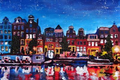 Amsterdam Skyline with Canal at Night