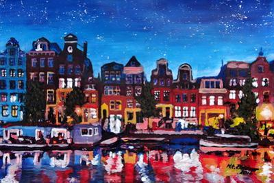Amsterdam Skyline with Canal at Night by Martina Bleichner