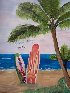 Caribbean Strand with Surf Boards by Martina Bleichner