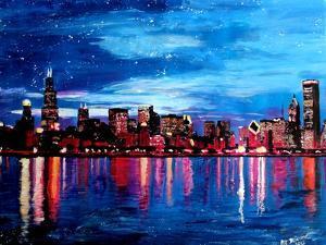 Chicago Skyline at Night by Martina Bleichner