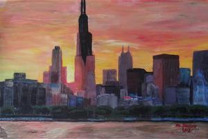 Chicago Skyline at Sunset by Martina Bleichner
