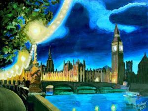 Houses of Parliament and Big Ben at Night by Martina Bleichner