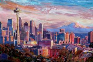 Seattle Skyline with Space Needle and Mt Rainier by Martina Bleichner