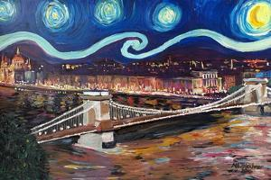 Starry Night in Budapest Hungary with Danube by Martina Bleichner