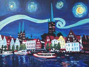 Starry Night in Luebeck Germany with Van Gogh Insp by Martina Bleichner