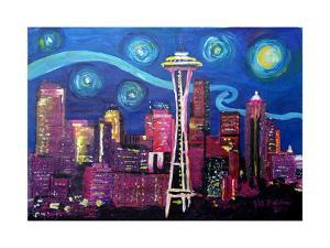 Starry Night in Seattle Space Needle with Van Go by Martina Bleichner
