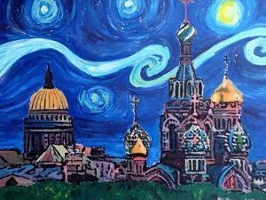Starry Night in St Petersburg Russia by Martina Bleichner