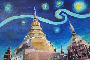 Starry Night in Thailand Van Gogh Inspirations i by Martina Bleichner