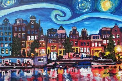 Starry Night over Amsterdam Canal with Van Gogh