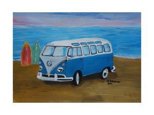 The Blue Volkswagen Bulli Surf Bus with Surf Board by Martina Bleichner