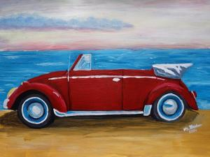 The VW Bug Series - The Red Volkswagen Bug at the beach by Martina Bleichner