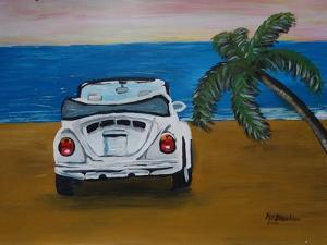 The VW Bug Series - The White Volkswagen Bug at the Beach by Martina Bleichner