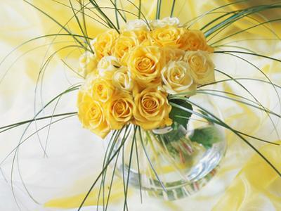 Yellow Tea Rosa in Glass Vase