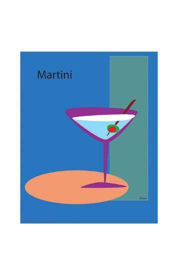 Martini in Blue-ATOM-Giclee Print