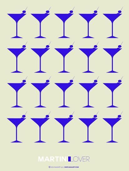 Martini Lover Blue-NaxArt-Art Print