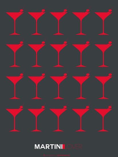 Martini Lover Red-NaxArt-Art Print