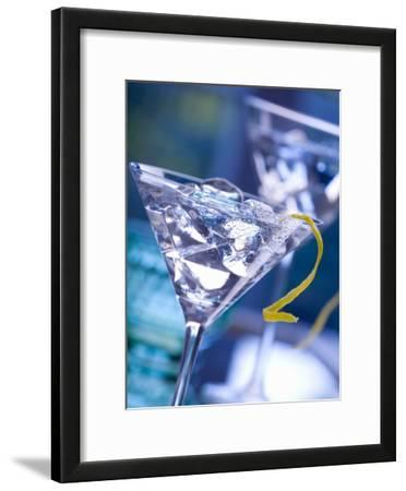 Martini with Lemon Peel and Ice Cubes